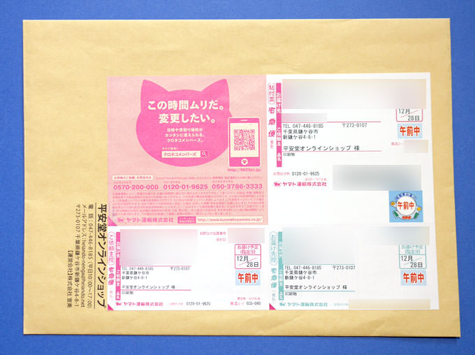 平安堂の配送パッケージは封筒